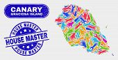 Assembly Graciosa Island Map And Blue House Master Distress Seal Stamp. Colorful Vector Graciosa Isl poster