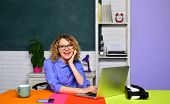 Student Studying In Classroom. Funny Young Teacher In Classroom. University Student At College. Worl poster