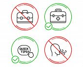 Do Or Stop. First Aid, Quick Tips And Portfolio Icons Simple Set. Breathing Exercise Sign. Medicine  poster