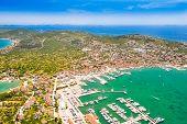 Beautiful Croatian Coast, Murter Island Archipelago And Town Of Murter From Air, Dalmatia Croatia poster