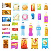 Vending Products. Beverages And Snack Plastic Package, Fast Food Snack Packs, Biscuit Sandwich. Drin poster