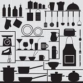 Restaurant And Kitchen Related Symbols On Tiled Background 1