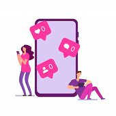 Modern Loneliness Vector Concept. Boy And Girl Have No Messages, No Likes In Social Networks. Illust poster