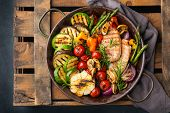 Vegan, Vegetarian, Seasonal, Summer Eating Concept. Grilled Vegetables And Chicken Breast In A Pan O poster