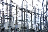 Steel Masts Of High Voltage Power Lines At The Plant. Electrical Substation, Power Converter, High V poster