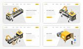 Company Manufacturing Process Landing Page Template. Factory Stages Of Product Assembly And Distribu poster