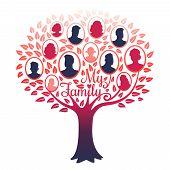 My Family Genealogy Tree Vector Isolated On White Background. Illustration Of Tree Family, Genealogi poster