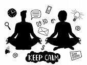 Man And Woman Silhouettes, Meditation And Keep Calm Vector Concept With Business Line Icons. Man And poster