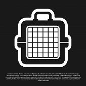 Black Pet Carry Case Icon Isolated On Black Background. Carrier For Animals, Dog And Cat. Container  poster