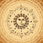 Illustration Of The Sun In An Octagonal Star With Magical Inscriptions And Symbols On The Beige Back poster