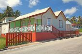 Small Barbados house with architecture typical of the Caribbean country.