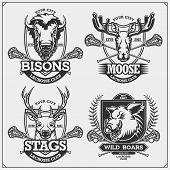 Set Of Lacrosse Badges, Labels And Design Elements. Sport Club Emblems With Deer, Bison, Elk And Wil poster