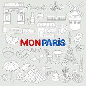 Icons Set Paris Cuisine And Traditional Modern Culture. Europe Eiffel Paris Icons Fashion Wine Build poster