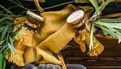 Traditional African Djembe Drums Hanging On The Roof, Cultural Instruments Of Africa, Music Backgrou poster