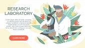Scientist Working In Laboratory On The Abstract Background. Male Medical Researcher In White Coat Do poster