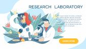 Scientist Working In Laboratory On The Abstract Background.medical Researchers In White Coat Doing E poster
