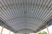 Steel Roof Structure. Moonlight Bulb. Steel Structure With Roof Tiles. Architectural Structure Of Ro poster