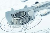 The Plan Industrial Details, A Protractor, Caliper, Divider And Bearing