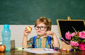 Kid In Classroom Have School Lunch. Schoolboy At Lunch Time. Funny Little Boy In Glasses Sits At Des poster