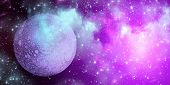Planet Uranus From Outer Space. Space Nebula. Cosmic Cluster Of Stars. Outer Space Background. Panor poster