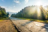 Old Road Through Forest In Mountains At Sunrise. Beautiful Transportation Scenery In Autumn. Fluffy  poster
