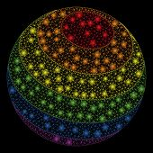 Glowing Mesh Lgbt Color Stripes Sphere With Glitter Effect. Abstract Illuminated Model Of Lgbt Color poster