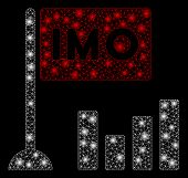 Glossy Mesh Imo Bar Chart With Glare Effect. Abstract Illuminated Model Of Imo Bar Chart Icon. Shiny poster