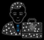 Flare Mesh Iota Accounter With Glare Effect. Abstract Illuminated Model Of Iota Accounter Icon. Shin poster