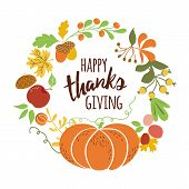Happy Thanksgiving Pumpkin Wreath Text For Thanksgiving Day Autumn Leaves Fall Banner Vector poster