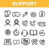 Client Support Vector Thin Line Icons Set. Customer Support, Helpline, Helpdesk Consultants Linear P poster
