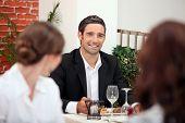 Handsome man in a restaurant