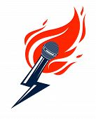 Microphone On Fire And Shape Of Lightning, Hot Mic In Flames And Bolt, Breaking News Concept, Rap Ba poster