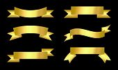 Gold Ribbon Set  Vector Icon On A White Background. Gold Ribbon Banner Icons In A Modern Design Styl poster
