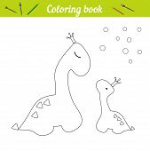 Coloring Page Dino Princess Poster. Cartoon Outline Draw. Educational Game For Children. Two Dinosau poster