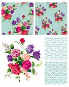 Vector Floral Repeat Patterns.  Use to print onto fabric or create stylish backgrounds for interior
