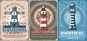Lighthouse And Vintage Nautical Compass Vector Posters Of Sea Travel And Marine Adventure Design. Sa poster