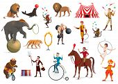 Circus Performers And Carnival Top Tent Artists Vector Design. Cartoon Clown, Acrobat And Strongman, poster