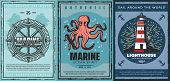 Nautical Anchors, Marine Sailing Ships And Sea Helm, Sailboat Rope, Ocean Octopus, Navy Lighthouse A poster