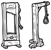 guillotine and hangman's noose cartoon