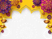 Diwali Festival Of Lights Holiday Design With Paper Cut Style Of Indian Rangoli And Hanging Diya - O poster