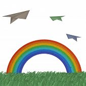 Green field with rainbow and plane flew