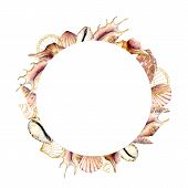 Watercolor Circle Frame With Golden Shells. Hand Painted Sea Shells Card Isolated On White Backgroun poster
