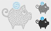 Mesh Piggy Bank Model With Triangle Mosaic Icon. Wire Carcass Polygonal Mesh Of Piggy Bank. Vector M poster