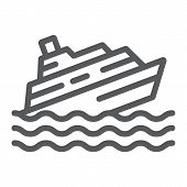 Sinking Ship Line Icon, Disaster And Water, Boat Catastrophe Sign, Vector Graphics, A Linear Pattern poster