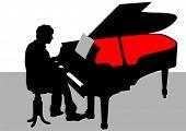 Dibujo de un hombre tocando el piano en el escenario del vector