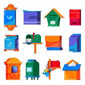 Mail Box Vector Post Mailbox Or Postal Mailing Letterbox Illustration Set Of Postboxes Mail-boxes Fo poster