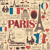 Vector Seamless Pattern On France And Paris Theme With Drawings, Inscriptions, Architectural Landmar poster