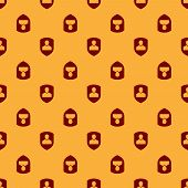 Red User Protection Icon Isolated Seamless Pattern On Brown Background. Secure User Login, Password  poster