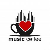 Cup Of Coffee, Musical Spectrum, Heart And Inscription Music Coffee. Template For Logo, Trademark Or poster