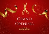 Grand Opening Invitation Vector Banner. Mall, Store Sales Promotional Poster. Shiny Scissors Cutting poster